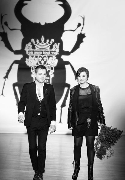 PARIS - JANUARY 23, 2013 : fashion designers Livia Stoianova and Yassen Samouilov at on aura tout vu spring summer 2013 fashion show at Paris fashion week January 23, 2013 in Paris ,France