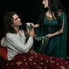 Lady Bertilak offers Sir Gawain the girdle