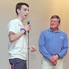 """Dick Hoyt visited North Middlesex Regional High School to deliver his message of Together """"You can Do anything"""" on Friday afernoon. NMRHS senior Bryan Spooner, 17, of Pepperell, the student who got Dick to speak at the school, thanks him for coming at the end of his talk. SENTINEL & ENTERPRISE/JOHN LOVE"""