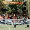 With flags, banners, and drums some 400 people marched this March 6 in Bogota to demand from the Colombian Government a true land restitution process.<br /> Photograph: PBI Colombia