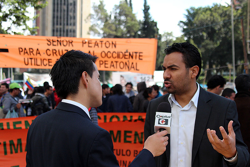 """This demonstration has as its objective the denunciation of the continual dispossession that takes place in Colombia that also includes some State actors,"" explains Franklin Castañeda, national spokesperson for MOVICE and President of the Foundation for the Committee in Solidarity with Political Prisoners, organisation accompanied by PBI Colombia. <br /> Photograph: PBI Colombia"