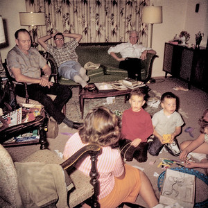 My grandmother Helen's life long friend Win Tisdale had a knack for people's pictures. Her snapshots captured everyday unremarkable moments that we only appreciated years later. Here we are celebrating my brother Steve's birthday in Helen's Livingston living room in 1967. He's the boy wearing the orangish shirt in the middle. My mother's back is in the foreground, while Gert, my paternal grandfather, is on the chair to left. My father and paternal grandfather are on the couch. I don't know the boy beside Steve but the girl on the side of the frame is my sister Aileen. My grandfathers and mother are no longer with us (2019) but this captures them in typical poses. Yes, I know this snapshot sucks as a piece of pure photography but as I have said before content ultimately trumps technique.