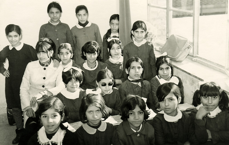 "Mali's grade four class in Tehran. She is easy to pick out. She is the girl wearing the ""too cool for school"" shades in the middle of the class."