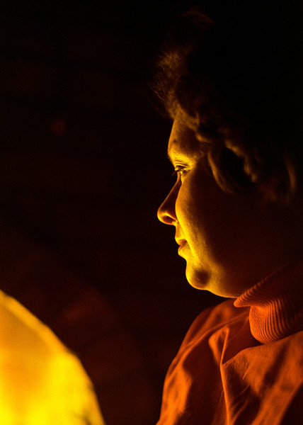 Evelyn looking into firelight. Snapped in Calgary in 1974. Sometimes the grain in old films adds beauty that is hard to emulate.