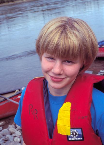 Helen 16 years old in canoe lifejacket.  August 2002.