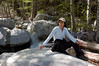 My wife by a small stream in the Cucamonga Wilderness area.