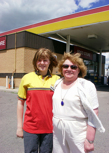 Helen and Evelyn.  Helen's part time job at the gas station.  June 18, 2004