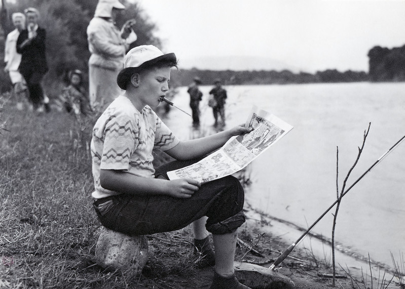 My father Frank, just shy of fifteen years of age, fishing in the Livingston Montana Trout Derby in August of 1948. I found this old print this last summer while searching through my Grandmother Helen's papers.
