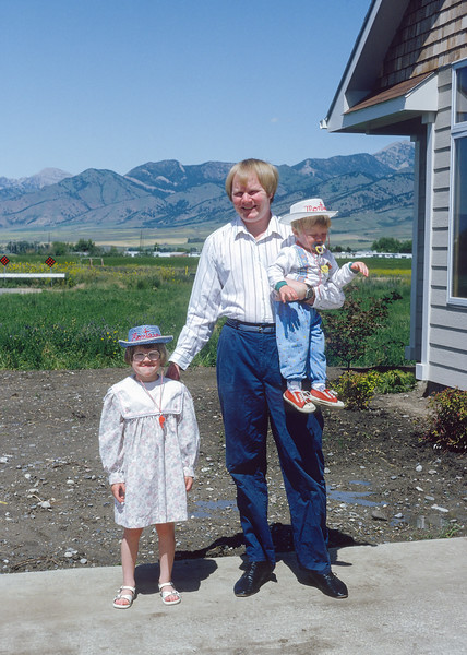 In the summer of 1992, my mother rented a new house for a few weeks near her townhome in Bozeman for my family and my brother's family. At the time we both had young children about the same age. Here I am with my kids Helen and Jacob. Jacob was not even two yet.  My daughter and her cousins were all around five. The rental didn't go as smoothly as I would have liked. Ruth and Sue had a fight and stopped talking to each other for about half the time we were there. Just another family vacation.