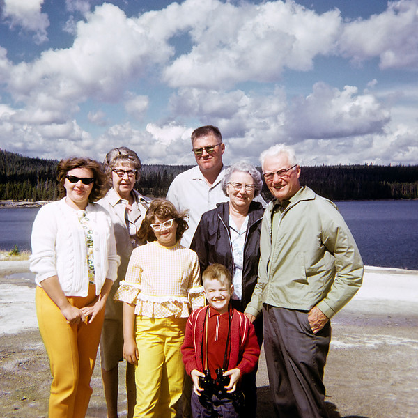 I snapped this slide of Margo, my grandparents, parents and siblings in Yellowstone park almost forty years ago with an Instamatic camera.