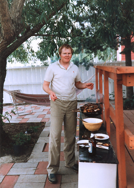 Me barbecuing in my backyard at 10634 69th Avenue in Edmonton Alberta. This picture was taken in the spring of 1986 a few months before Helen was born. As you can see my indolence had already claimed my beauty.
