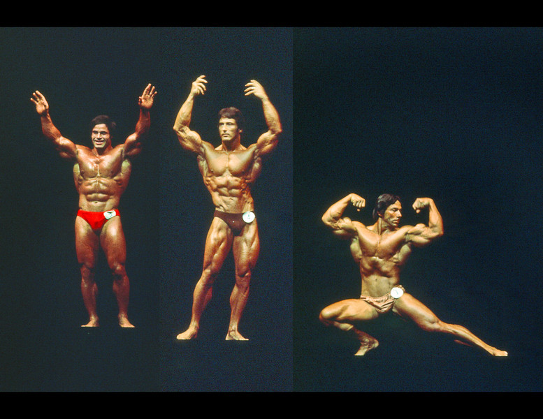 The 1976 Mr Olympia contest was held in Columbus, Ohio and Arnold had just retired. In fact he was promoting this event with a local guy. I was free-lancing for the city magazine and interviewed Ahhnahld during which he flirted with Gayle just about continuously.<br /> <br /> With Arnold out of the competition, Franco Columbo (left) who had always been Numero Two-o was the winner, with Frank Zane (center) in second place. On the right was number five Mr Boyer Coe of Lafayette, Louisiana who visited our house after the posing exhibition composited here and was a thoroughly charming Southern gentleman who knew he would never win a bodybuilding competition due to his flat abdominal musclature. But competed for years anyway.