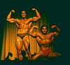 "A commercial posing exhibition in Pittsburgh in 1975 after Arnold Schwarznegger and Franco Columbo had finished first and second respectively in the Mr Olympia contest for like the fifth year in a row.<br /> <br /> Arnold had so dominated the sport up until then that the IFBB had broken the competition into two categories, then referred to as ""Talls"" and ""Shorts"" although actually differentiated by whether the contestant was over or under 200 pounds. So Franco could get a first place in the Shorts category<br /> <br /> Arnold and Franco were great friends outside the competition and at one time had a business of repairing chimneys that they had pushed over before ringing the homeowner's doorbell."
