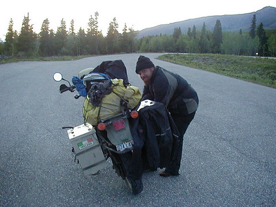 6/13/02-2:06 AM - Glen, a world traveler, somewhere along the Richardson Hwy near Isabel Pass.