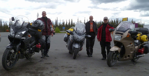 "June 7, 2012:  At The Hub Tesoro gas station in Glennallen, Jim, Tom, and Karl line up before heading on south to visit ""The Switzerland of Alaska"" - Valdez."