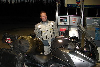 9/13/10:  ADV Rider BEC (Brian) from Colorado, fueling up at the Chevron station in Glennallen on his trip from Prudhoe Bay to Ushaia, Argentina.