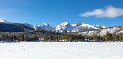 Panoramic View with Hallett Peak and Tyndall Glacier, and Sprague Lake in the foreground