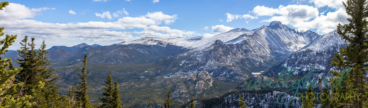 Panoramic View of the Rocky Mountains, including Long's Peak, in early winter