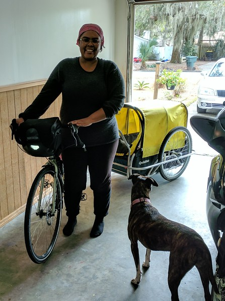 Jasmine and her dog, Fiji, were riding to Florida and then westward.