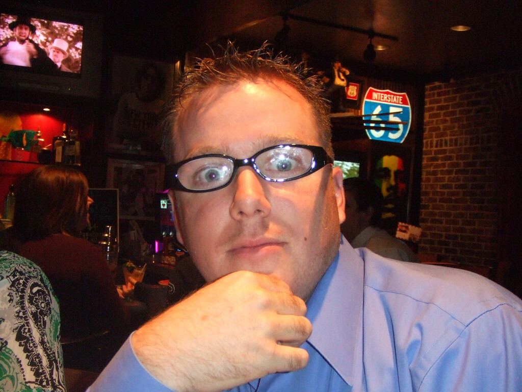 More making fun of my glasses at Friday's -  28Mar09