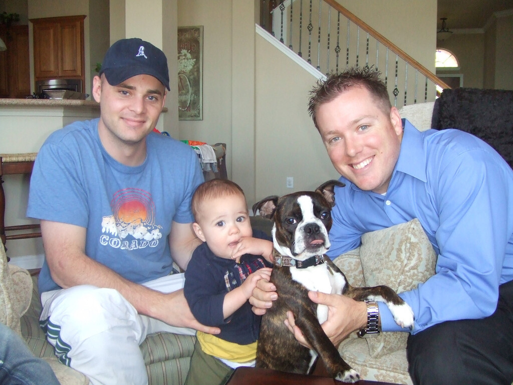 Dan, Nicky, Zeus and Kyle at the Abelings -  28Mar09