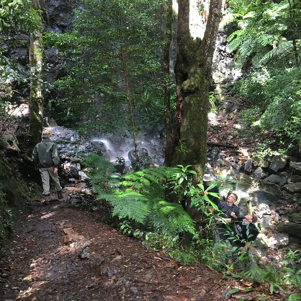 Zig-zagging down the steep track to Twin Falls