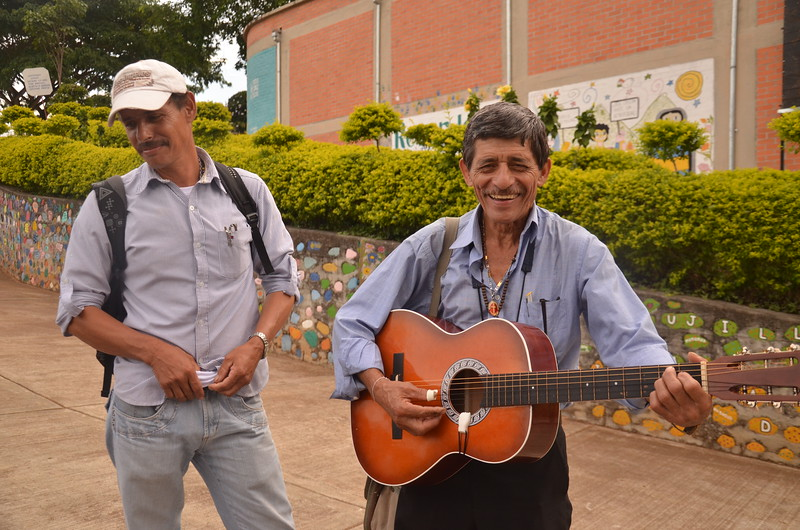 """Singer/songwriter Ancisar creates memory through his songs.  He sings about life in the 1980s and 90s in Trujillo, telling the story, for example, of Father Tiberio Fernandez, the spiritual leader in Trujillo who was brutally murdered for speaking out against the abuses committed by the paramilitaries, drug traffickers and agents of the State.  He also sings the story of the carpenters, which goes: """"25 years demanding that they appear and they have stayed in sad impunity (…) they took them, it was dawn already, half-naked and shivering from cold, and someone said that after they massacred them, they threw them in pieces into the river""""."""