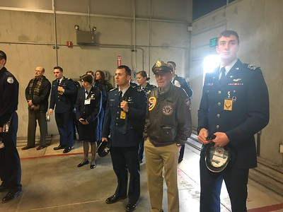 The old guy in the Army Air Corps uniform is Jerry Yellin, 93 (that's age, not graduating class).