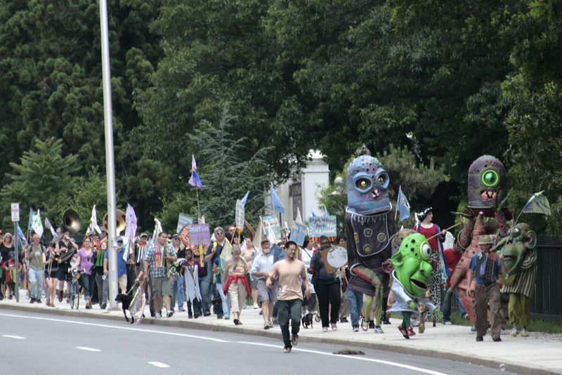 The procession got attention on Elmwood Avenue.