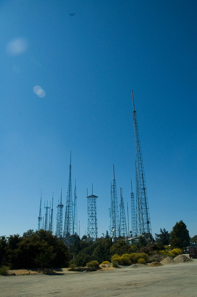Radio towers of Mt. Wilson. You can see these from LA.