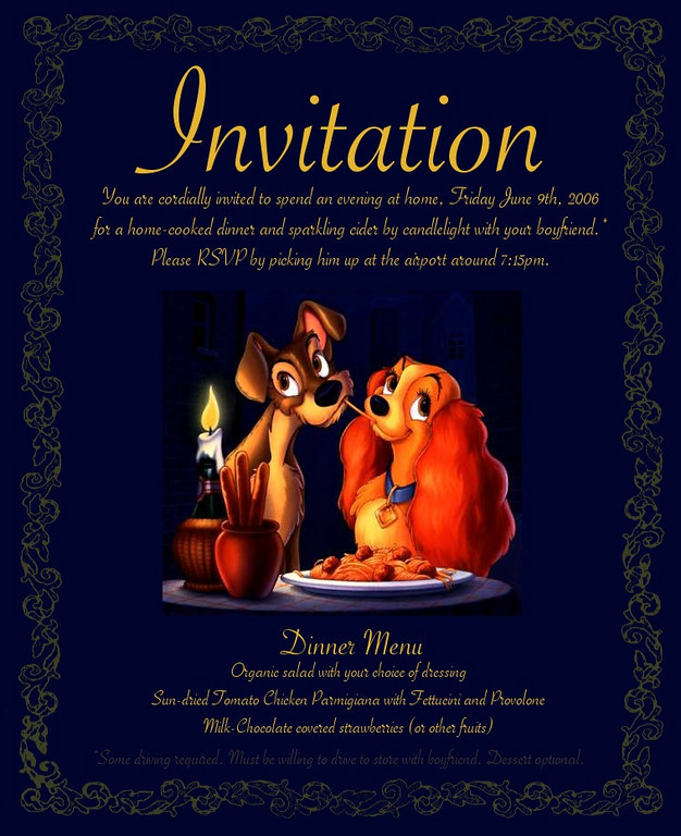 The formal invitation for the evening...