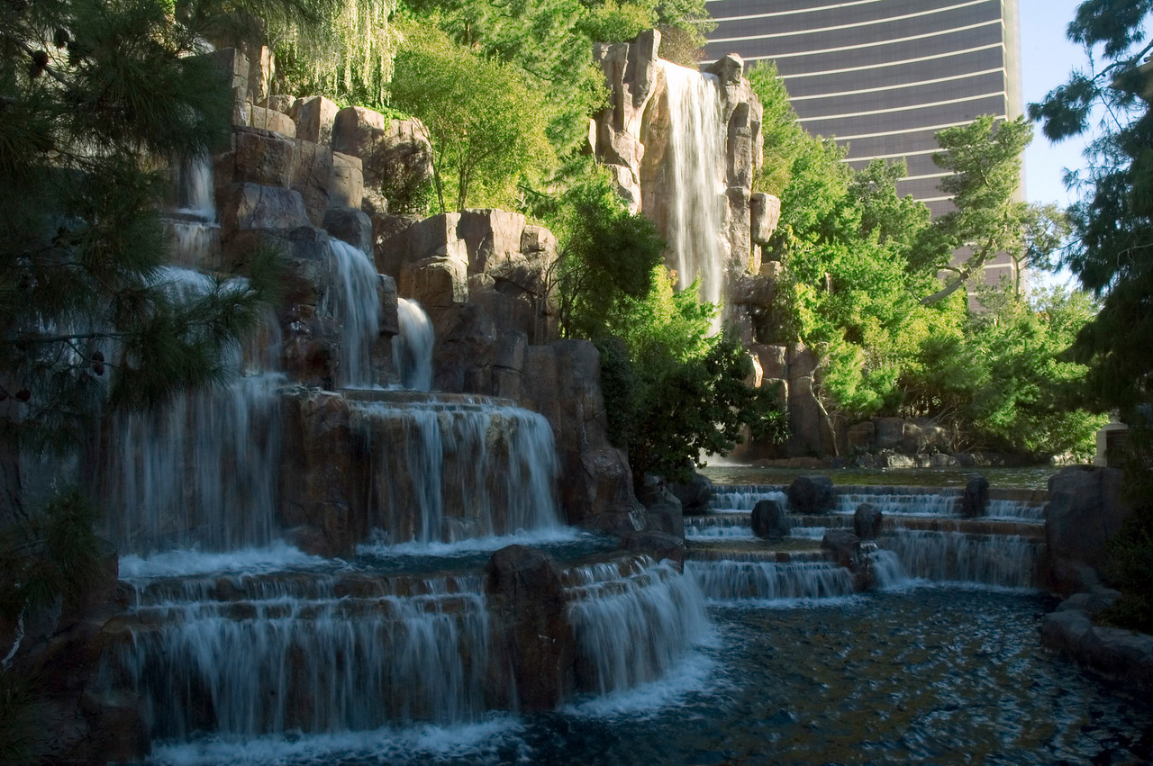 At the Wynn, checking out the falls near the Esplanade.
