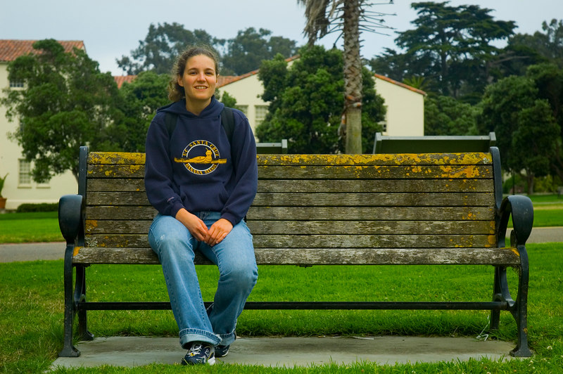 Taking a break in the Presidio. The San Francisco Film Centre (where I used to work) is in the background.
