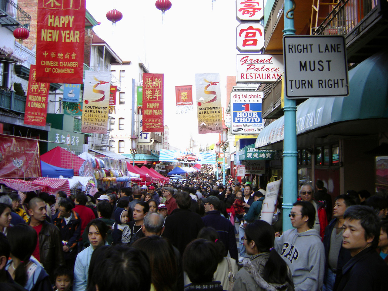 On our way back through Chinatown, we ran into this mob of people gathered for Chinese New Year, which I guess is on my birthday this year, which would explain why none of my Chinese friends will be attending my party! :P