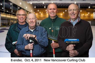 8-Ender teammates. John Gerhard, skip; John Bell, 3rd; Barrie Brown, 2nd; Bill Burrell, Lead