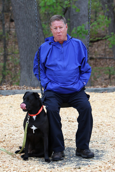 Richard Karlen of Natick, with his rescue dog, Jersey sits on the swings at Varney Playground in North Chelmsford while his grandson plays with his daughter. JULIA MALAKIE/LOWELLSUN