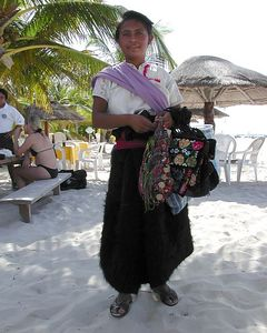 Mexican Vendedora Ambulante. Sales lady on the street.