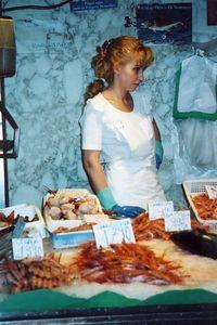 Mercado de Mariscos en Barcelona, Espana - The Fish Market in Barcelona