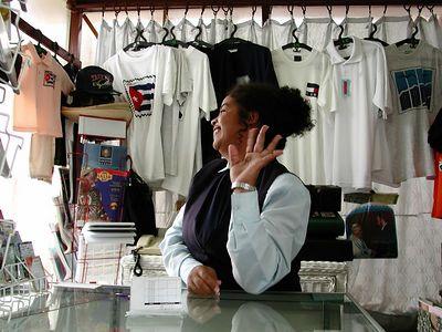 """Cajera de Tienda de Accesorios del Internet                                          - Internet Gift Shop Cashier  El Viejo y Del Mar Hotel """"The old man and the sea"""" hotel                                                       - Marina Hemingway, Cuba"""