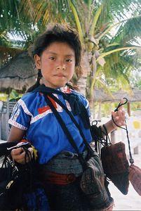 Mexico - Nina vendedora ambulante de la Playa-Children selling on the beach.