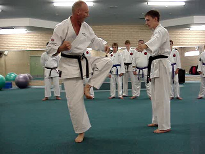 """""""Shihan Martin Day's Combat Karate Kicking and Flexibility Seminar Perth, Western Australia Demonstrating Technique Detail""""  """"Inner crescent kick, side kick same leg, followed by reverse punch to target area."""""""