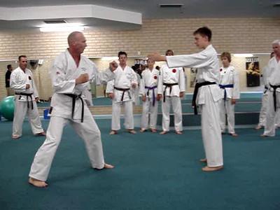 """More Combat Karate Techniques From Shihan Martin Day's Kicking and Flexibility Seminar Perth, Western Australia""  ""Outer crescent kick, hook kick same leg."""