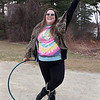 Features at Vietnam Veterans Park in Billerica. Brittney McCoy of Tewksbury shows one of her hula hoop exercises. She was out with friends at the park. (SUN/Julia Malakie)