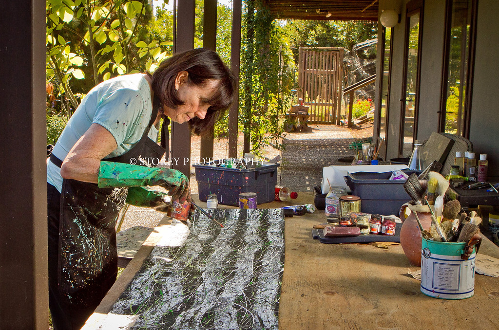 Virginia Knepper-Doyle paints tactile art at her home in Belvedere, Calif. on Friday, August 24th,  2012. She suffers from age-related Macular Degeneration and struggles with her loss of vision.