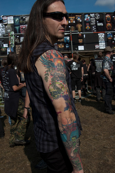 "Marcelo Vasquez Rocka of the German metal band Drone ( 2 of 2) at Wacken Open Air 2011. Tattooist: Tattoostudio 77 Sarstedt DE ( <a href=""http://www.chrischi77.de"">http://www.chrischi77.de</a>)"