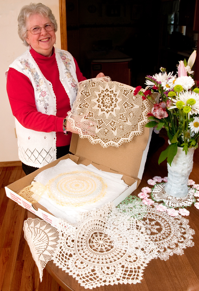 """You know, lace was something only nobility was allowed to wear,"" Wahneta Dunn explained as she showed off her pizza box filled with lace made by her mother and herself. <br /> <br /> It made me realize how very much a part of the American experience the democratizing of lace was. <br /> <br /> But on the flip side of things. European lacemakers, rather than being honored, used to be virtual prisoners, living their entire lives within the confines of the workshop, to protect their masters' designs from being stolen. Wahneta told me the story of one of her students whose mother used to make lace in Europe. When she came to America, she refused to teach her daughter, because it was a reminder of her servitude. Only after her mother passed away was she free to learn the art."