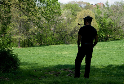 Barry Jones' silhouette during a sunny day in Spring - overlooking Rock Creek Park near P Street, NW, Washington DC