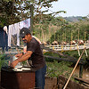 Don Elías prepares the arepa corn cakes for breakfast.<br /> Don Elías is a leader and he cares about the environment in the region. He says that the farmers are making great efforts to promote reforestation and prevent more trees being cut down in the region. He adds that it is a great challenge because the presence of the ELN has expanded in the area and this group promotes the felling of trees.