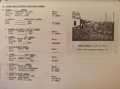 List of George Wendel' children (my great-grandfather)