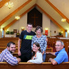 The Dinsmore family of Leominster at the Leominster United Methodist Church. From left sitting is Spencer Dinsmore, Andrea Brimigion and Steve Dinsmore. Standing is Parker and Denise Dinsmore. SENTINEL & ENTERPRISE/JOHN LOVE